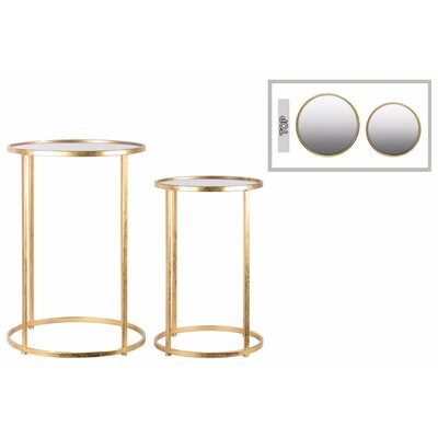 Bessie Enchanting 2 Pieces Nesting Tables with Mirror Top Color: Gold