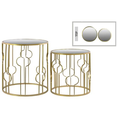 Tiana Crescent Design Round Metal 2 Piece Nesting Tables with Mirror Top Color: Gold
