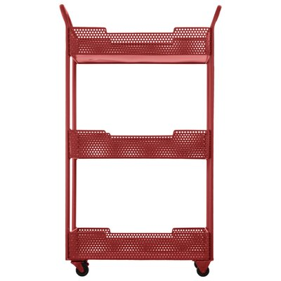 Loreto Splendid Metal Tray Bar Cart with Mesh Design Color: Red