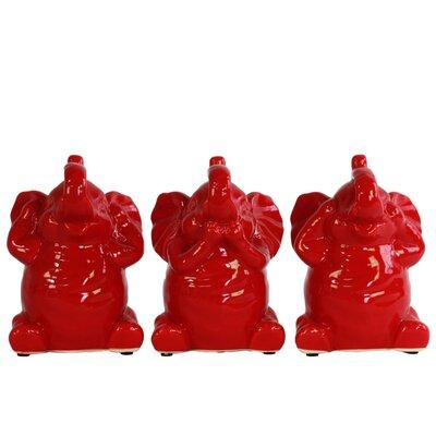 Desimone Happiness Elephant No Evil 3 Piece Figurine Set Color: Red