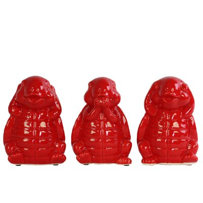 Desilva Happy Standing Turtle No Evil 3 Piece Figurine Set Color: Red