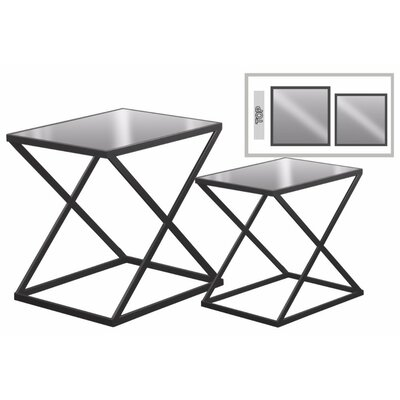 Eleni Rectangular Metal 2 Pieces Nesting Tables with Mirror Top Color: Gray