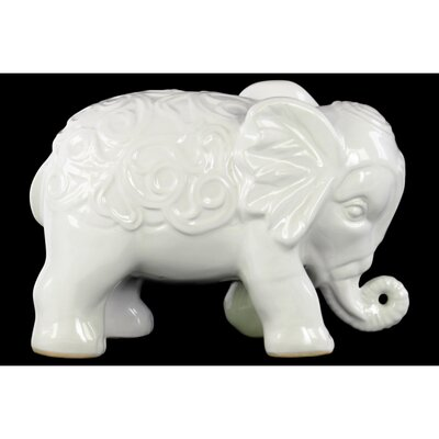 Beneduce Standing Elephant Figurine with Embossed Swirl Design Color: White BGRS3595 43616129