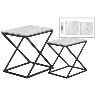 Delphine� Rectangular Metal 2 Pieces Nesting Tables with Marble Top Color: Gray