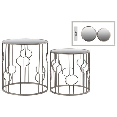 Tiana Crescent Design Round Metal 2 Piece Nesting Tables with Mirror Top Color: Silver