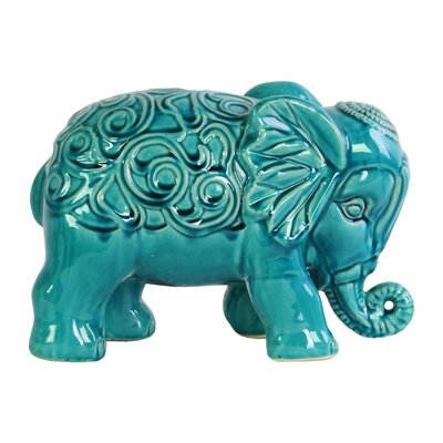 Beneduce Standing Elephant Figurine with Embossed Swirl Design Color: Blue