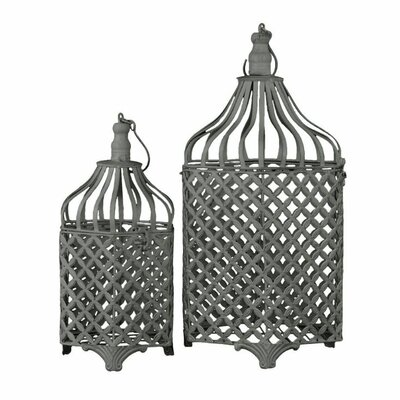 Remarkable Metal 2 Piece Bird Cage Set with Hook Hangers BRU-60186