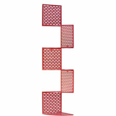 Deshong Large Metal Corner Wall Shelf with 5 Tiers, Perforated Surface and Backing Finish: Red