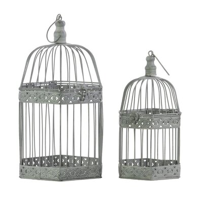 Metal 2 Piece Bird Cage Set with Ring Hanger BRU-60191