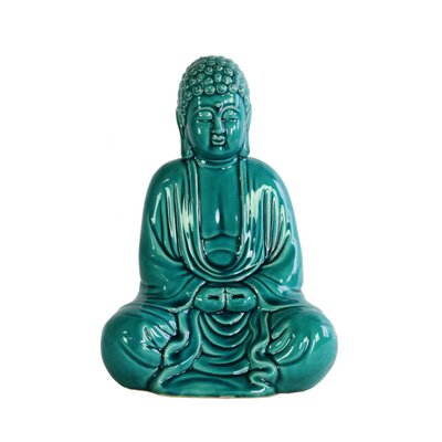 Higham Chanting Buddha Figurine in Mida No Jouin Mudra Color: Blue