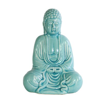 Higham Chanting Buddha Figurine in Mida No Jouin Mudra Color: Light Blue