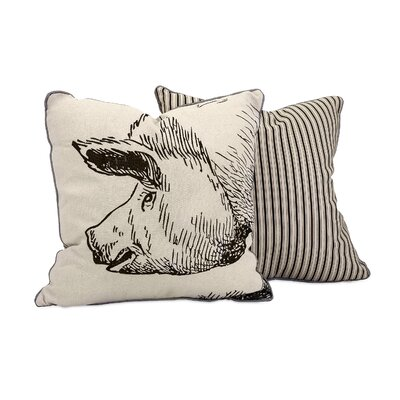 Perz Comfortable Pig Embroidered 100% Cotton Throw Pillow