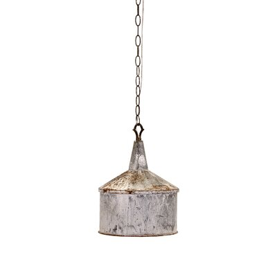 Neven Vintage Galvanized 1-Light Inverted Pendant