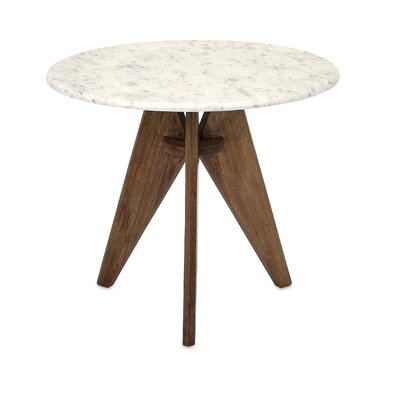 Conduit Avenue Fabulous Tall Marble and Wood End Table