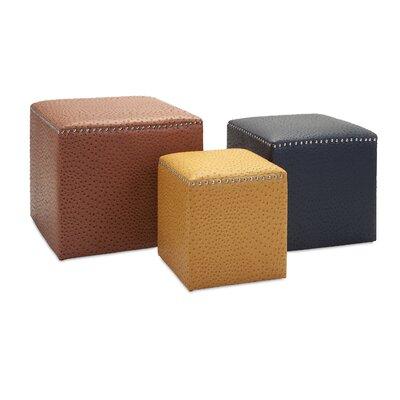 Soussi 3 Piece Leather Cube Ottoman Set