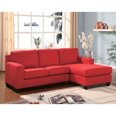 Redus Sectional with Ottoman Upholstery: Red