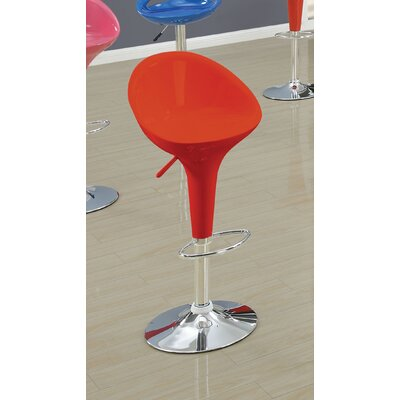 Ryals Contemporary Adjustable Height Swivel Bar Stool Seat Color: Red