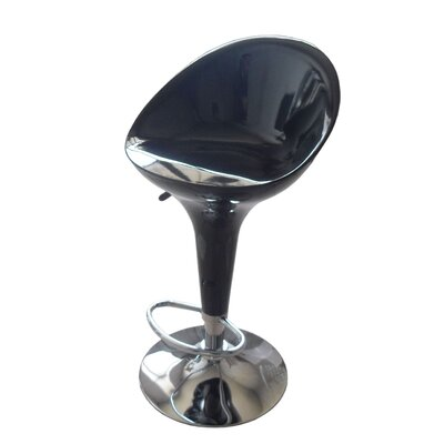 Ryals Contemporary Adjustable Height Swivel Bar Stool Seat Color: Black