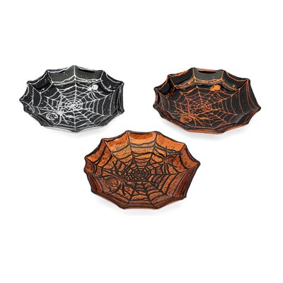 Halloween Glass Spider Web Decorative Plate THLY2075 44292880