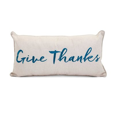 Heena Embroidered Give Thanks 100% Cotton Lumbar Pillow