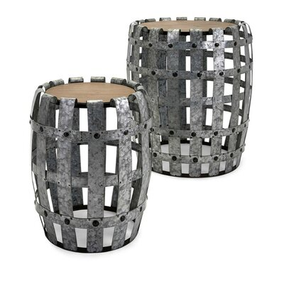 Perlo Sturdy Galvanized 2 Piece Nesting Tables