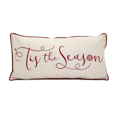 Christmas Is the Season Embroidered 100% Cotton Lumbar Pillow