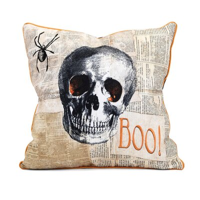 Halloween Skull 100% Cotton Throw Pillow