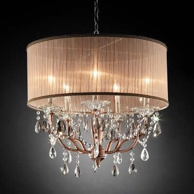 Bourgoin 5-Light Drum Pendant with Hanging Crystals