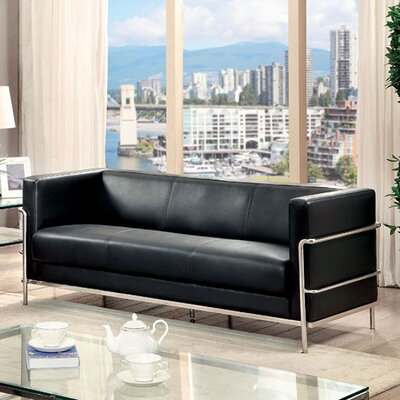 Canup Leather Sofa Upholstery: Black