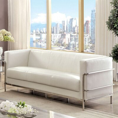 Canup Leather Sofa Upholstery: White