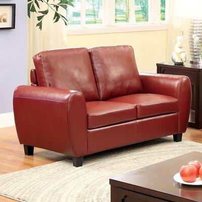 Burciaga Loveseat Upholstery: Mahogany Red