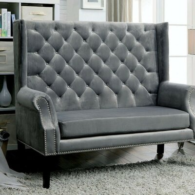 Witherell Settee with Wingback Design Upholstery: Gray