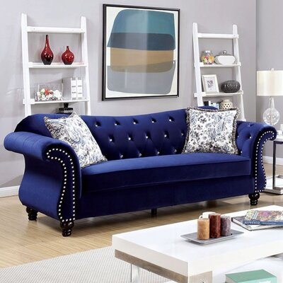 Bouton Sofa Upholstery: Blue