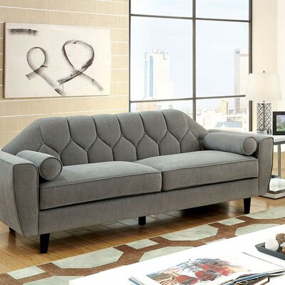 Sariah Tufted Sofa with Rolled Pillows
