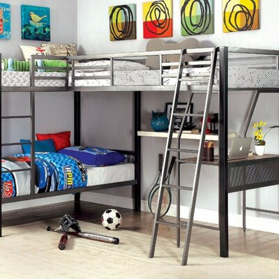 Hank Twin Triple L-Shaped Bunk Bed with Desk