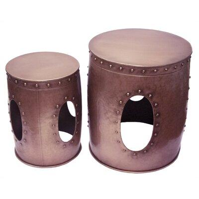 Ceniceros Metal Barrel 2 Piece Nesting Tables