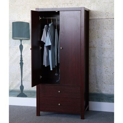 Astaire Commodious 2 Drawer Wardrobe Armoire Color: Cherry Brown