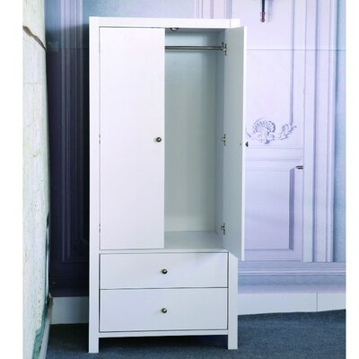 Astaire Commodious 2 Drawer Wardrobe Armoire Color: White
