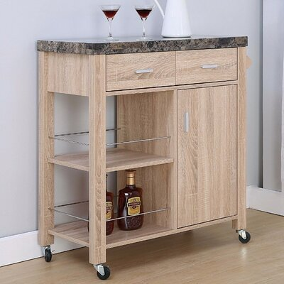 Lemire Storage Kitchen Cart with Marble Top