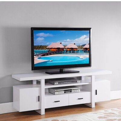 Dipasquale Eye Catching 60 TV Stand with Open Shelves Color: White
