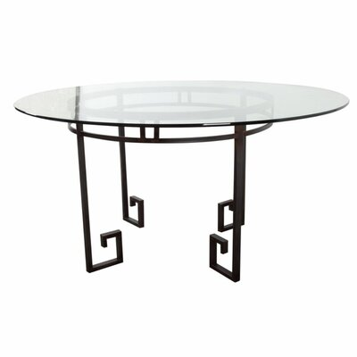 Chaney Greek Key Accented Metal and Glass Dining Table