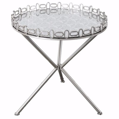 Van Cleef Chic Mirrored Tripod End Table