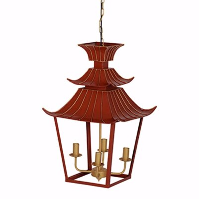 Thibaut Well Designed Orange Pagoda 4-Light Mini Chandelier