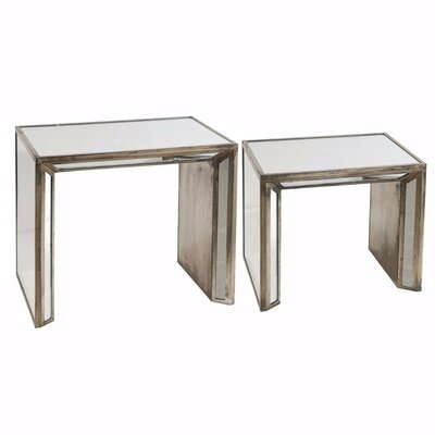 Honora Mirrored 2 Piece Nesting Table Set