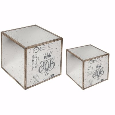 Argens 2 Piece Ideal Mirrored Cube End Table Set