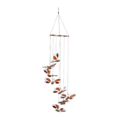 Butterflies Hanging Decor Wind Chime Color: Red ALP-LKP182RD