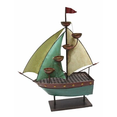 Sailor Ship with 5 Leaf Cup Tier Floor Fountain ALP-MAZ258