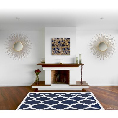 Aroa Cupola Hand-Tufted Navy Blue Area Rug Rug Size: Rectangle 76 x 96
