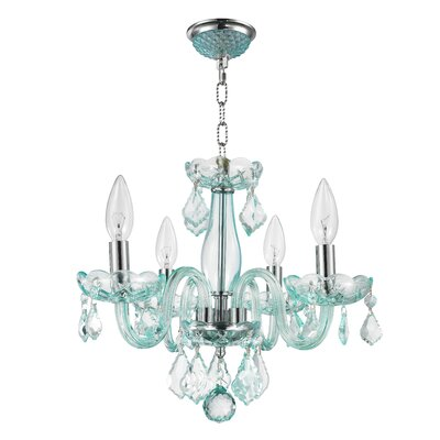 Weisser 4-Light Crystal Chandelier Finish: Coral Blue