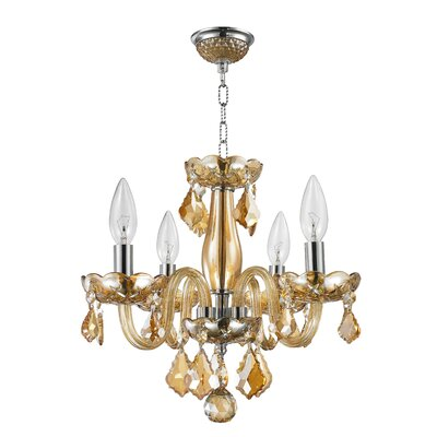 4-Light Crystal Chandelier Finish: Amber